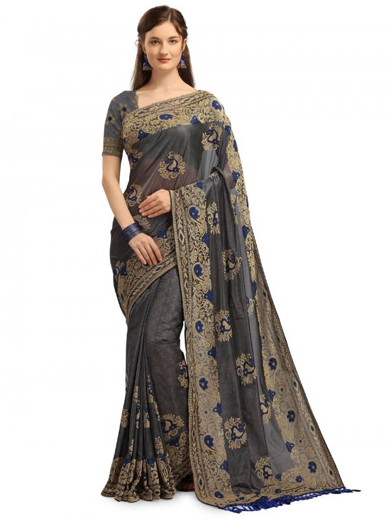 Designer Grey and Blue Velvet Wedding Saree