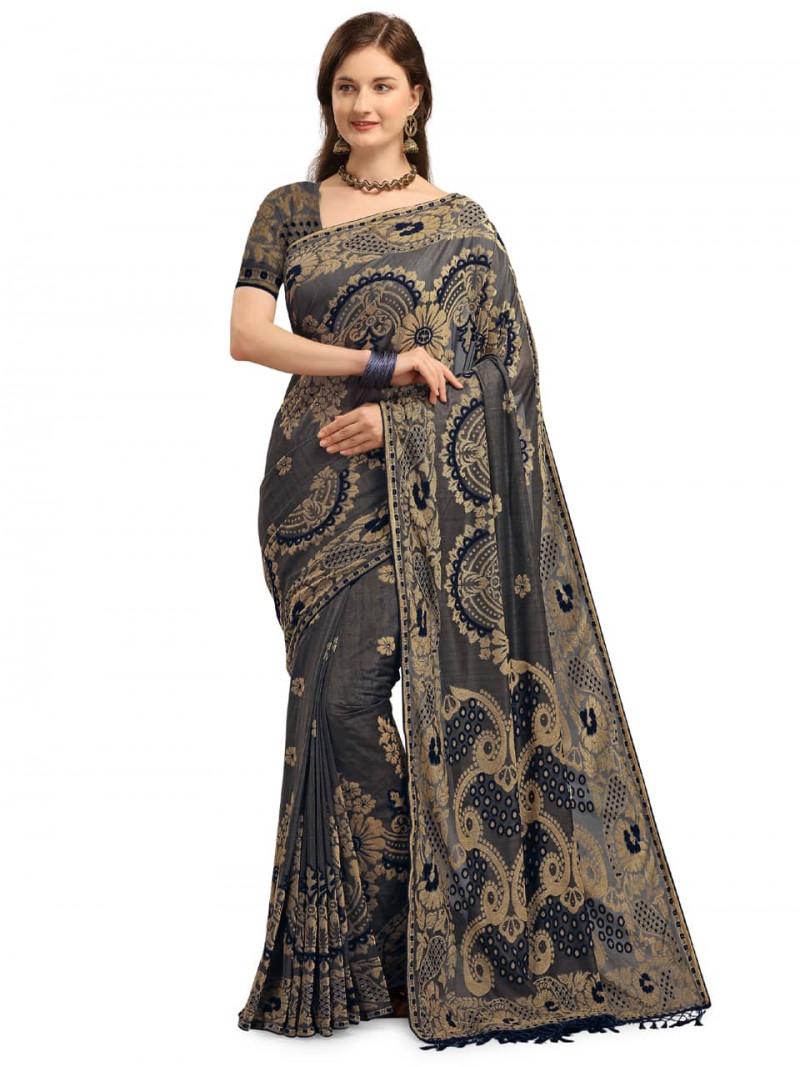 Designer Grey and Blue Velvet Banarasi Saree