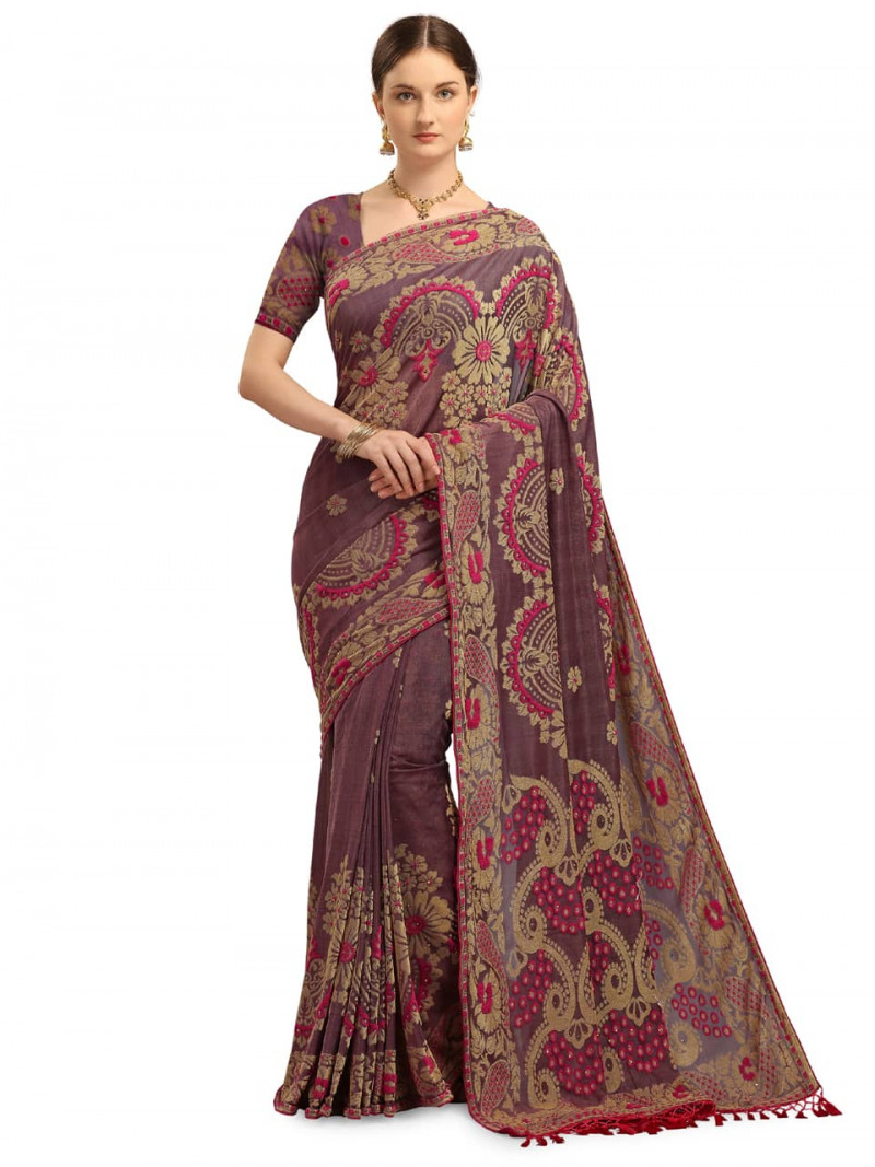 Fancy Pink and Grey Velvet Saree for Festival Look