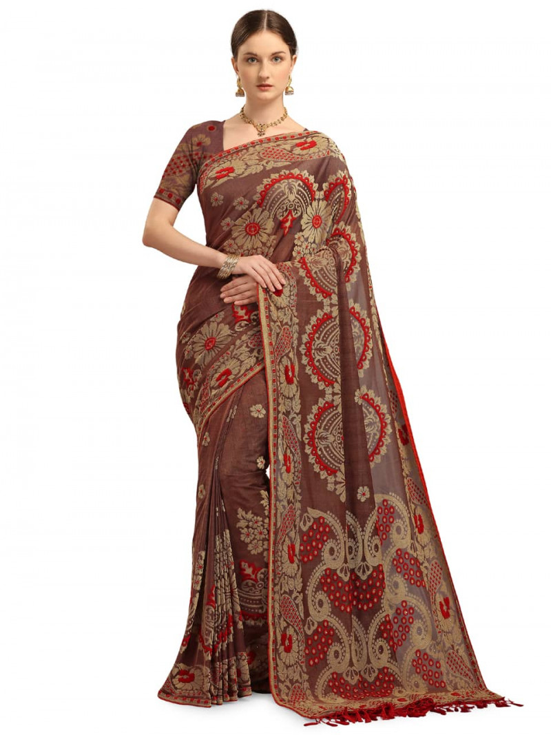 designer-red-and-grey-banarasi-velvet-saree