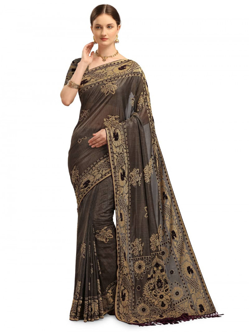 designer-black-and-grey-velvet-saree-for-wedding