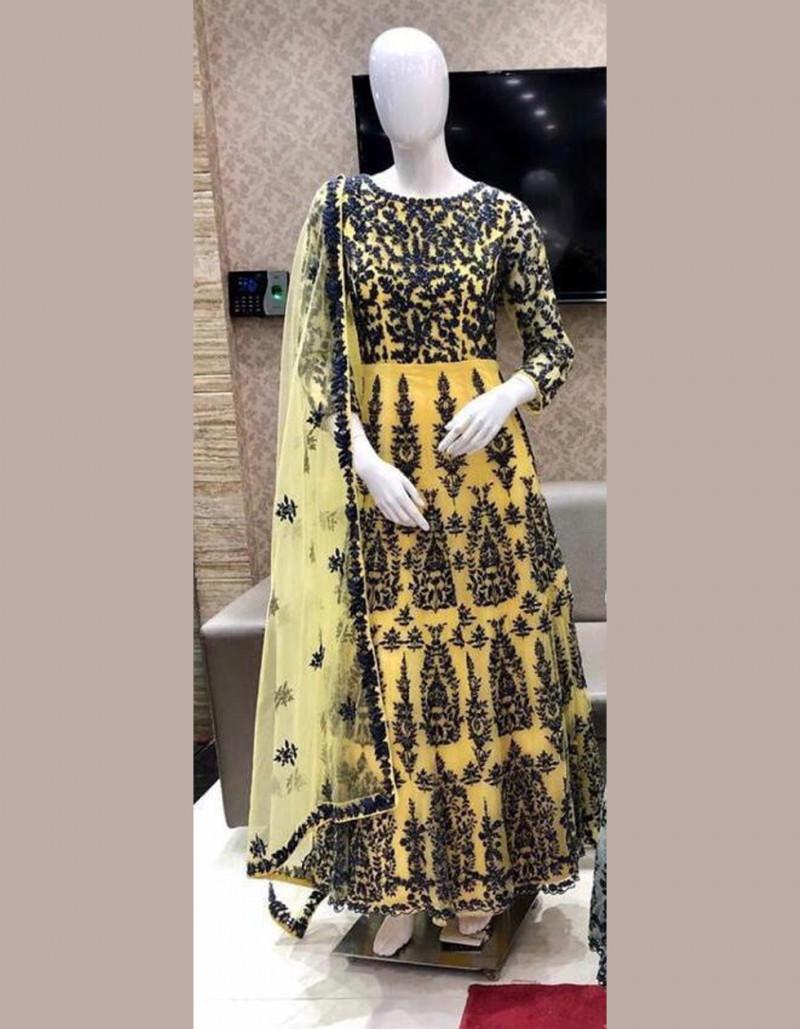 Designer Floor Length Net Yellow Anarkali Dress with Net Dupatta