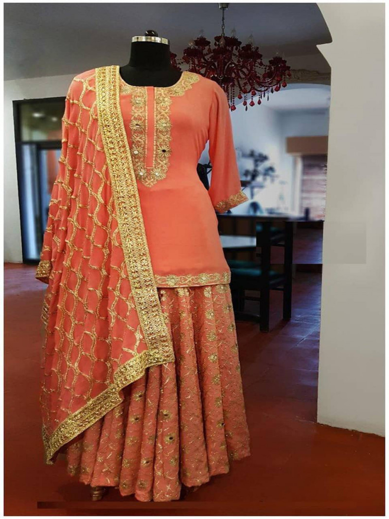 Latest Georgette Party wear Orange Lehenga Choli