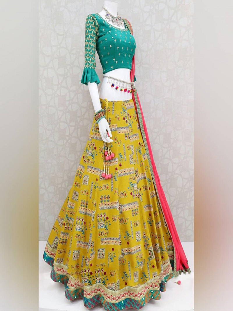 Stylish Yellow and Rama Digital Print Silk Lehenga for Wedding