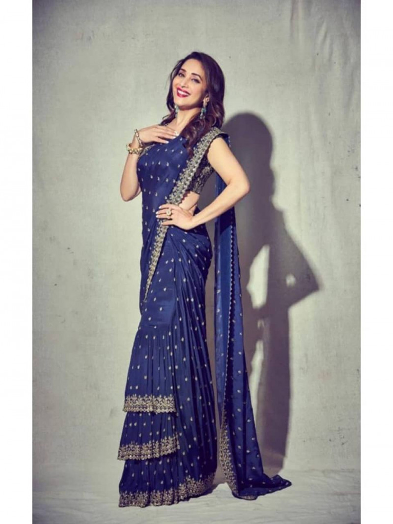 Madhuri dixit Bollywood Style Navy Blue Georgette Ruffle Saree
