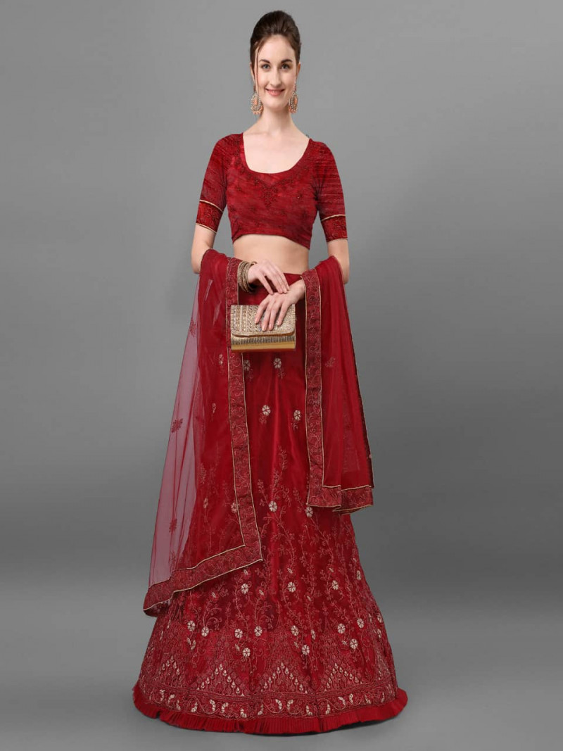 Fancy Maroon Net Lehnga Choli with Embroidery Work