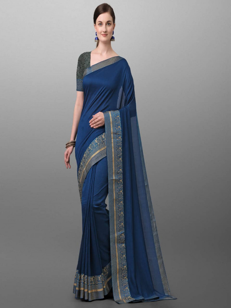 Stylish Blue Polyster Traditional Look Saree