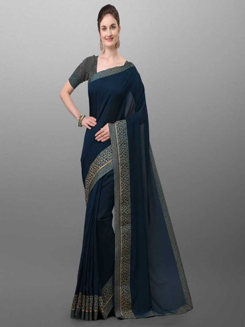 Stylish Navy Blue Polyster Saree for Festival
