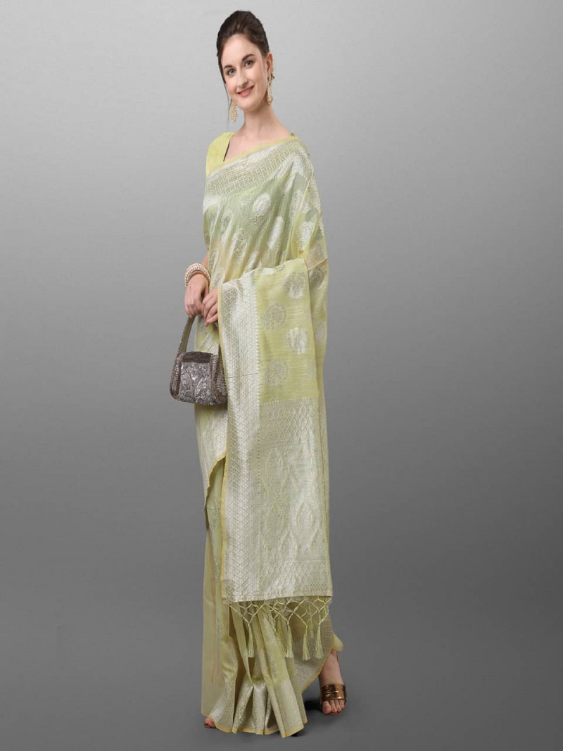 Light Green Banarasi Polyster Saree For Ladies