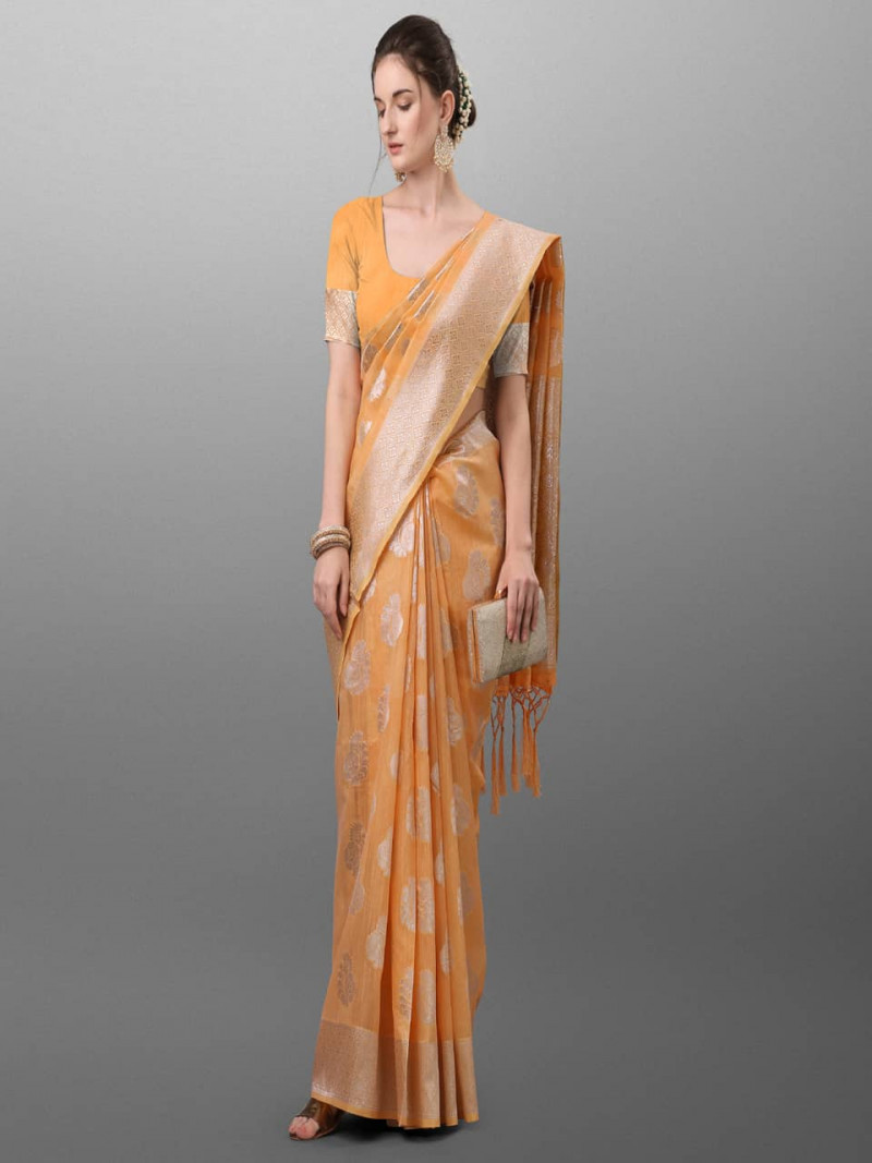 Simple  Orange Polyster Traditional Look Saree