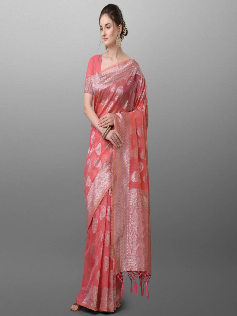 Beautiful Pink Polyster Saree With Silver Border