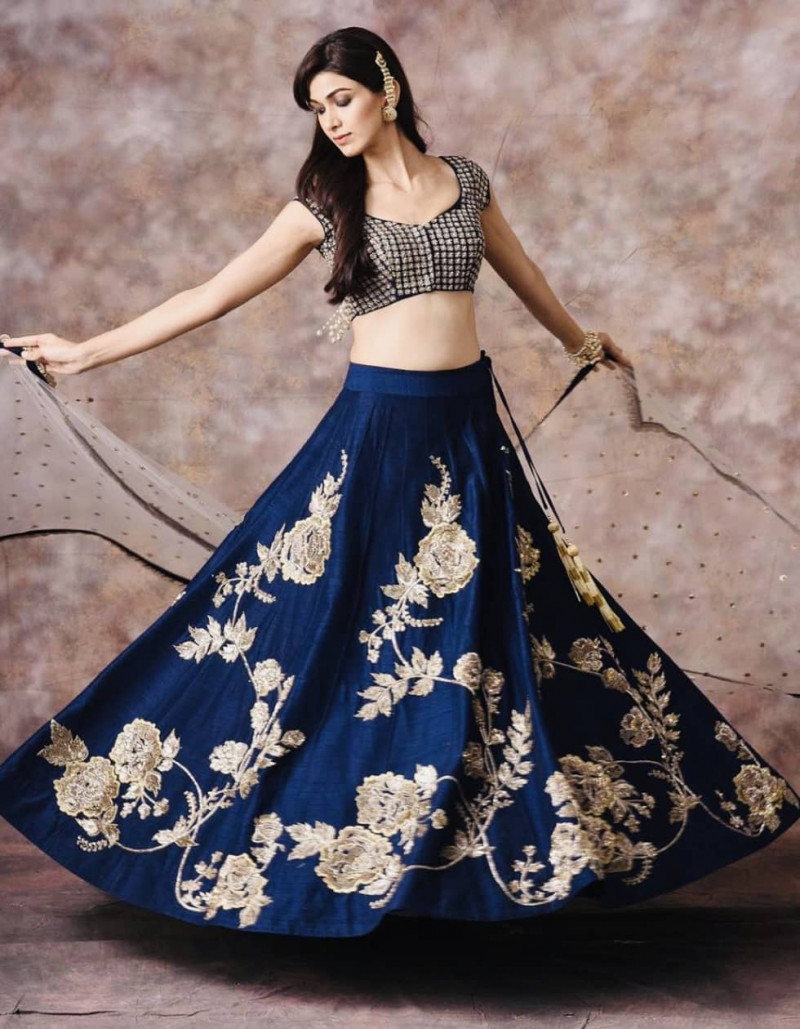 Blue Heavy Embroidered Silk Lehenga Choli for Wedding