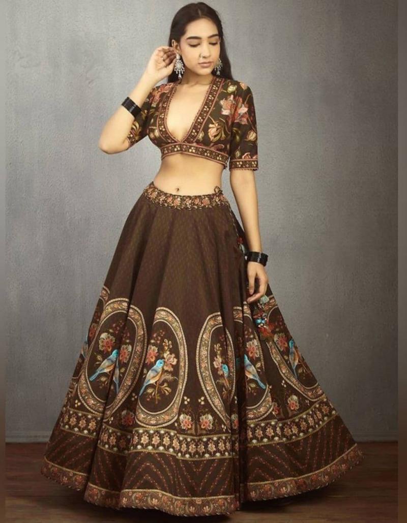 Designer Brown Silk Digital Printed Lehenga Choli