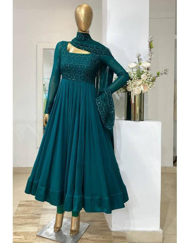 Designer Turquoise Georgette Floor Length Anarkali Suit