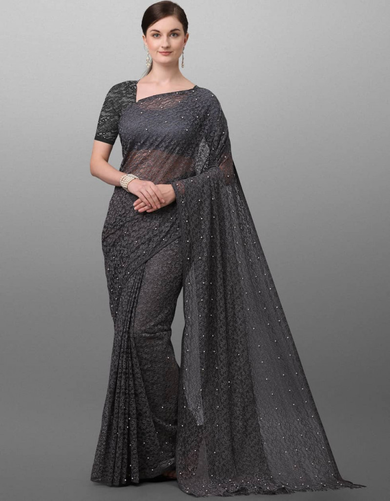 Stylish Grey Jacquard Saree for Ladies