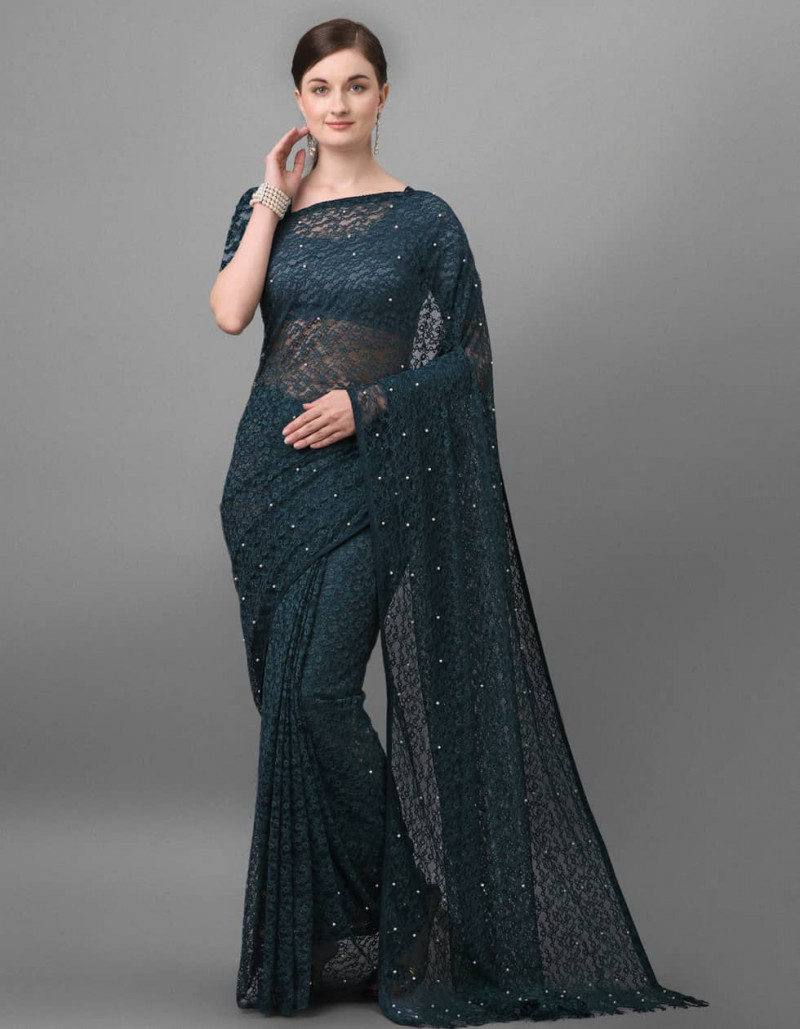 Party Wear Blue Jacquard with Simple Pieping Saree