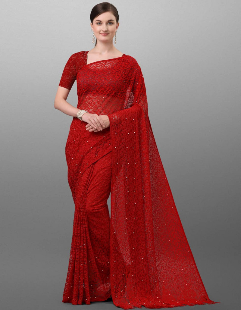 Latest Plain Red Jacquard Saree with Pieping Border
