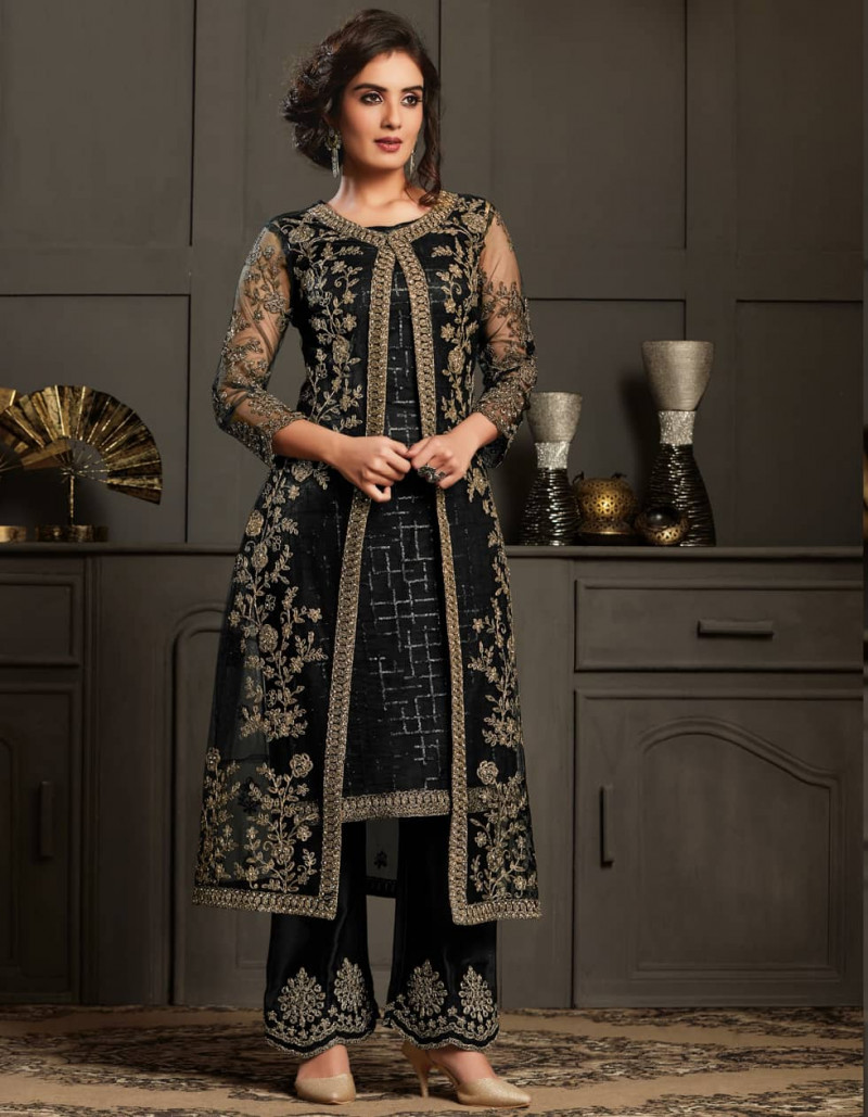 Latest Party Wear Black Net Salwar Suit with Jacket