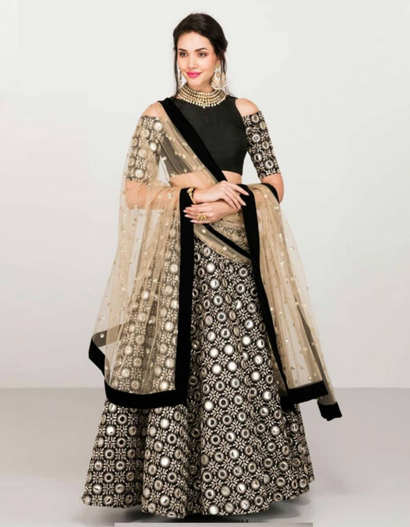 Party Wear Black and Beige Taffeta Silk Mirror Work Lehenga Choli