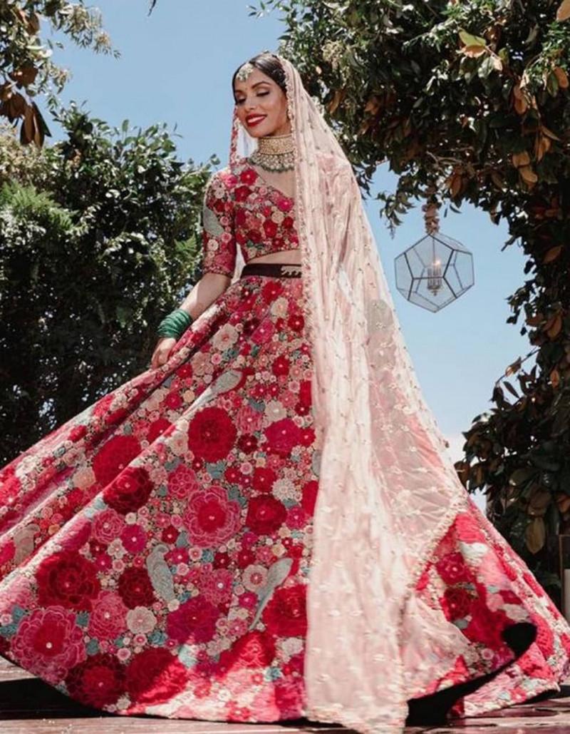Designer Multi Color Gotta Silk Floral Print Bridal Lehenga Choli