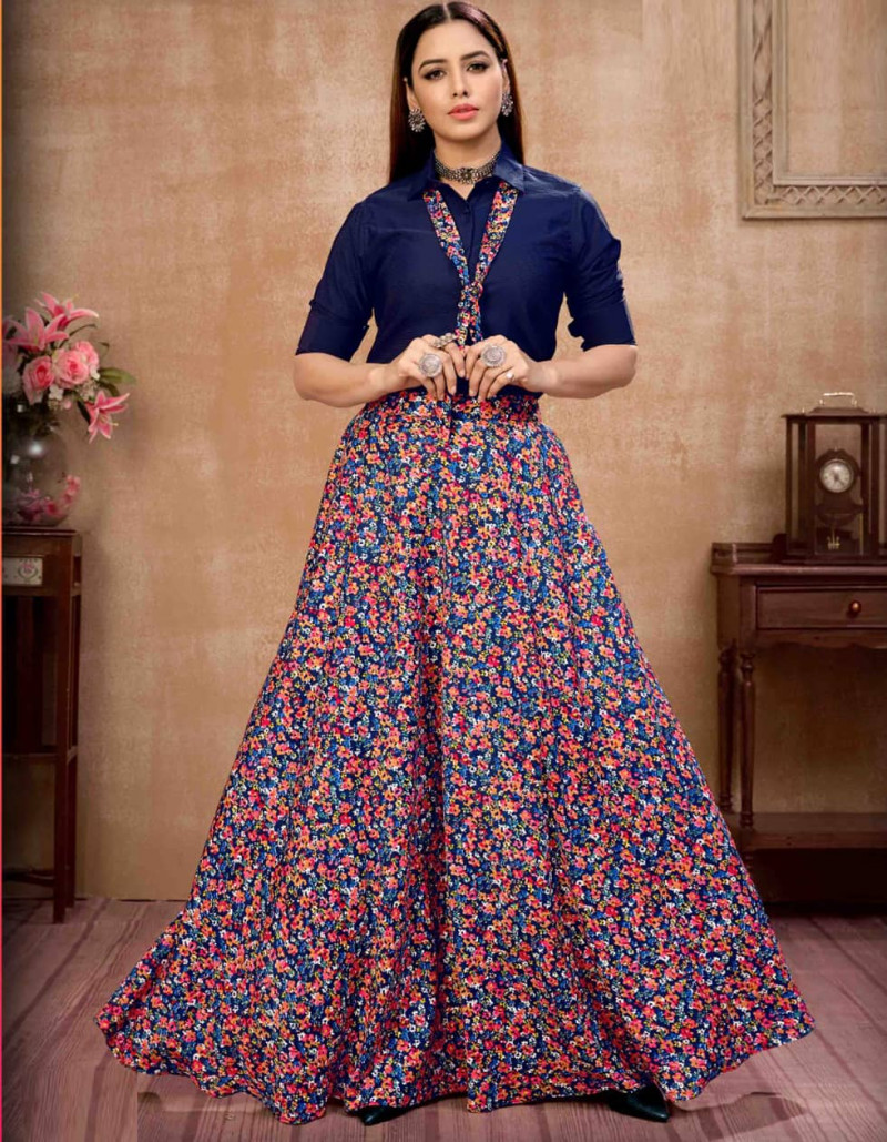 Navy Blue Silk Floral Printed Crop Top Lehenga