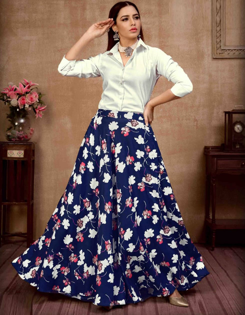Latest Navy Blue and White Silk Crop Top Lehenga