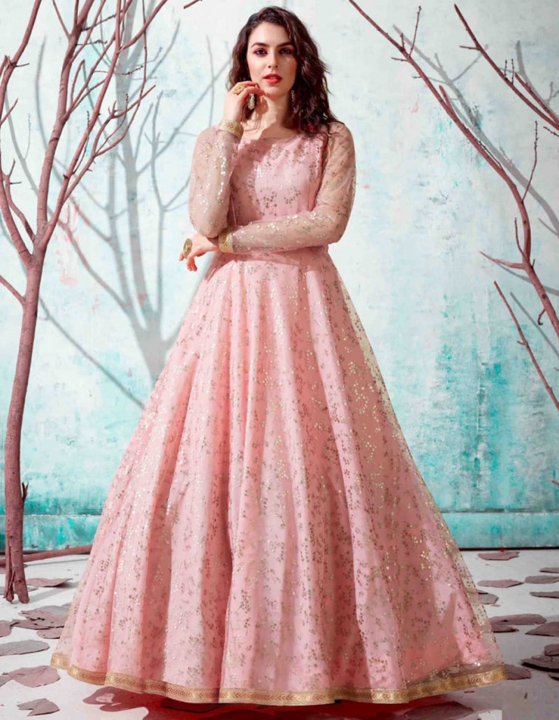 Party Wear Pink Net Floor Length Anarkali Gown