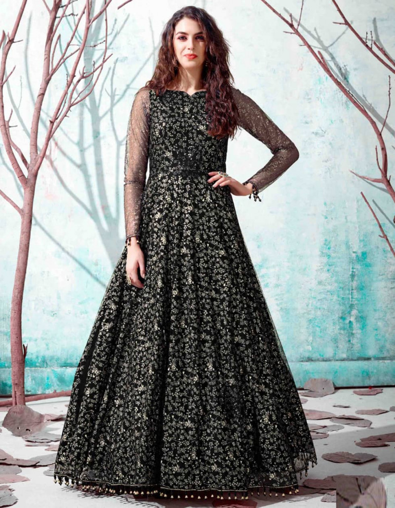 Stylish Black Color Net Gown for Ladies