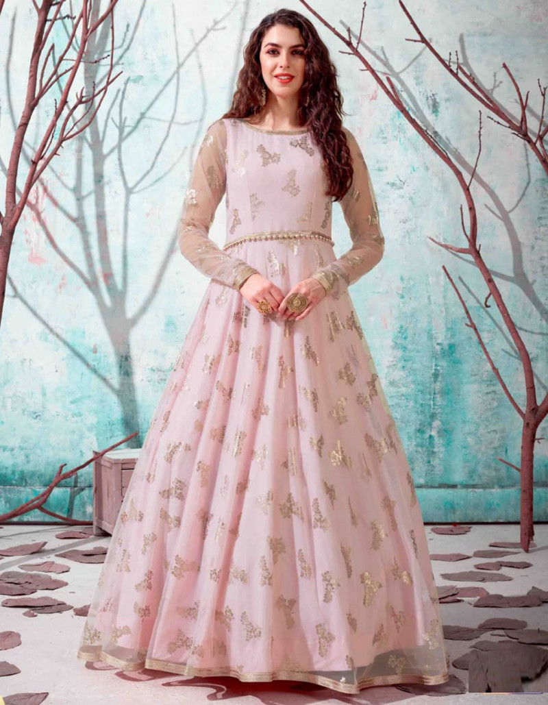Beautiful Pink Long Anarkali Net Gown