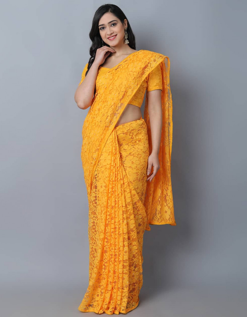 Stylish Orange Jacquard Net Saree for Women