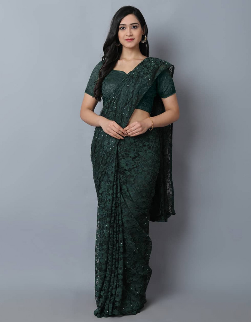 Beautiful Dark Green Jaquard Net Saree for Women