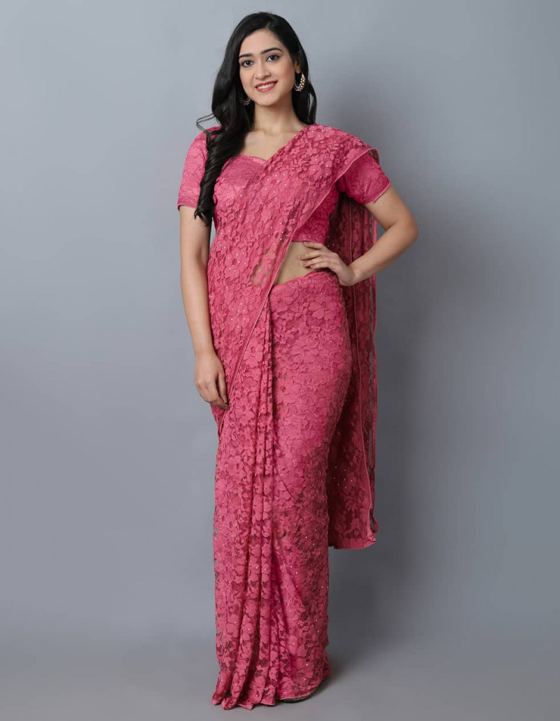 Designer Dark Pink Jacquard Saree for Women