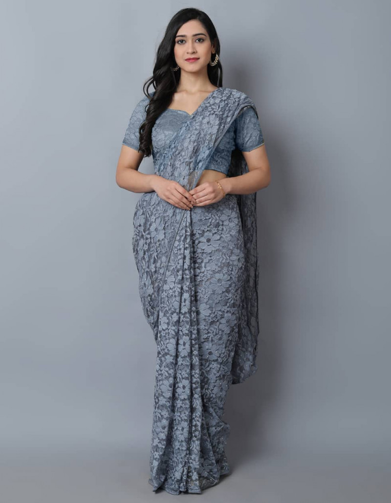 Latest Grey Jacquard Net Saree for Ladies