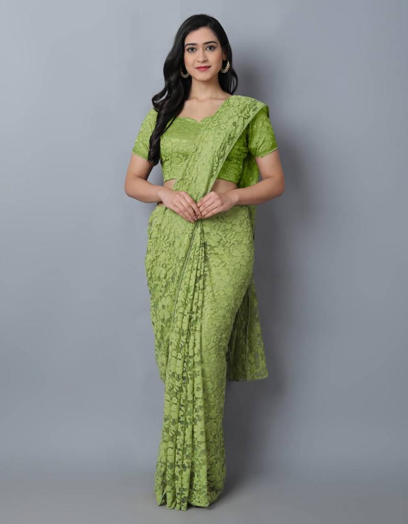 Light Green Jacquard Net Saree for Women