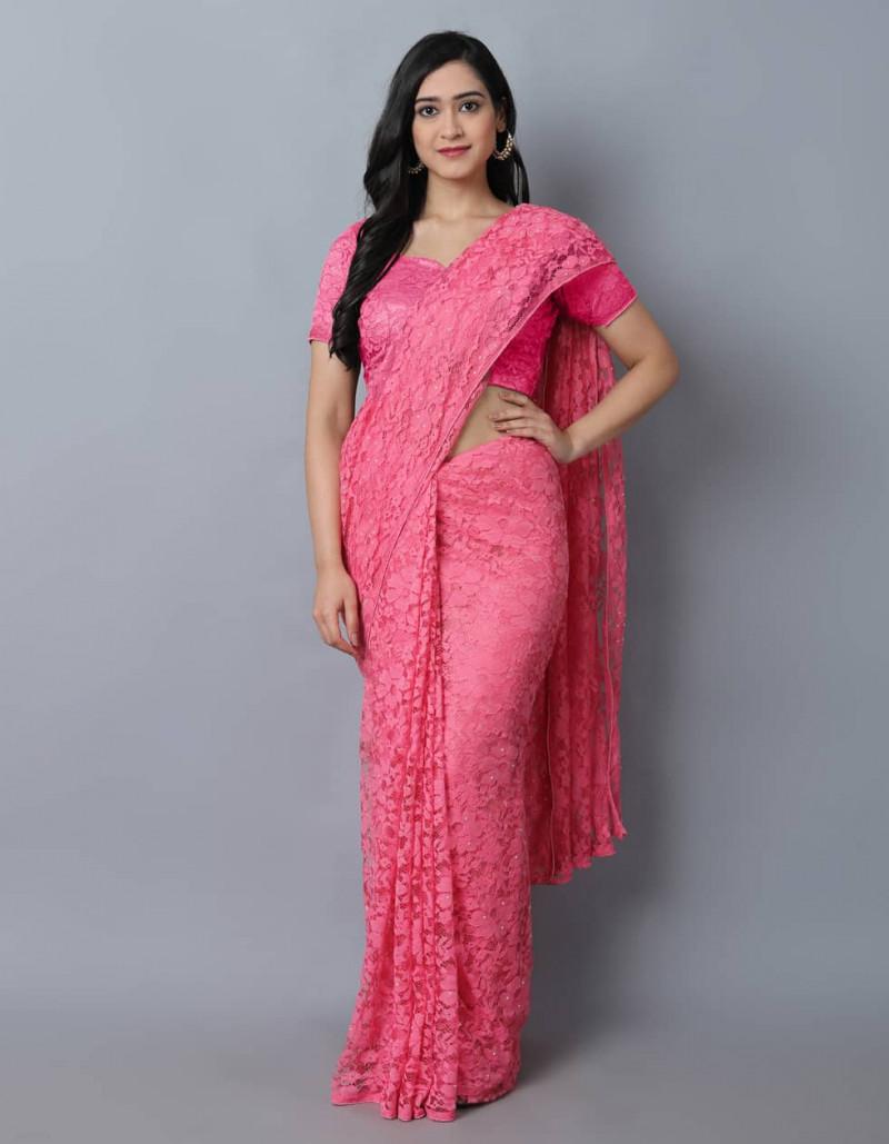 Stylish Pink Plain Jacquard Net Saree