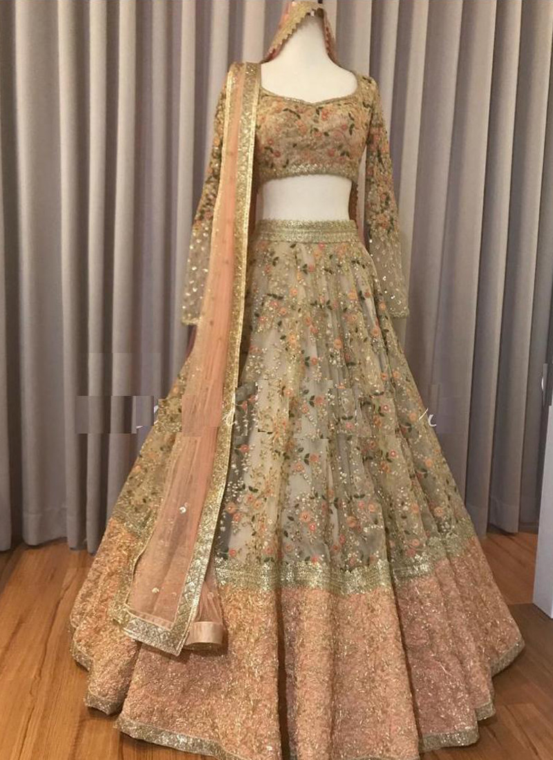 Light Pink Floral Embroidered Organza Lehenga Choli