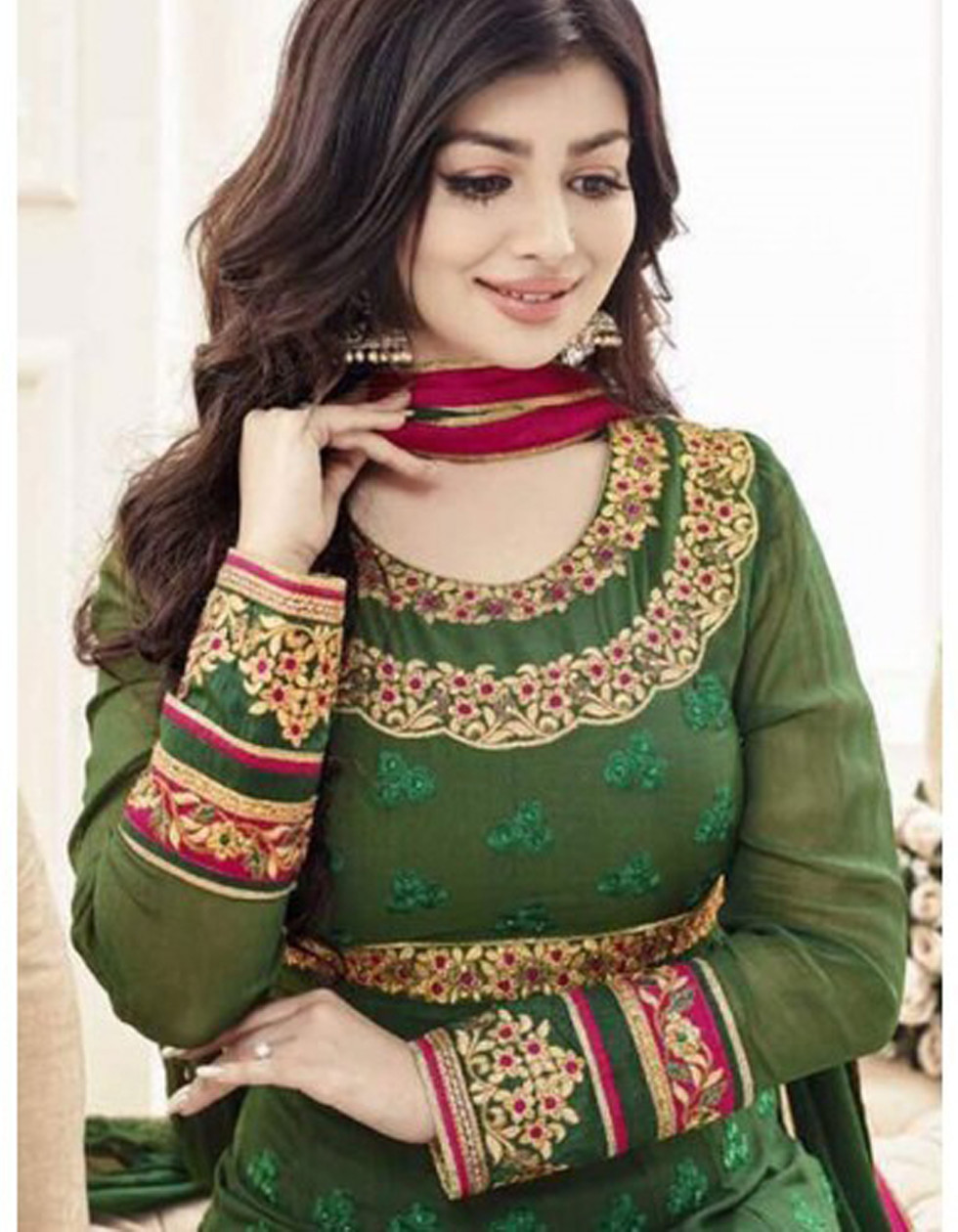 Heavy Green Georgette Anarkali Gown