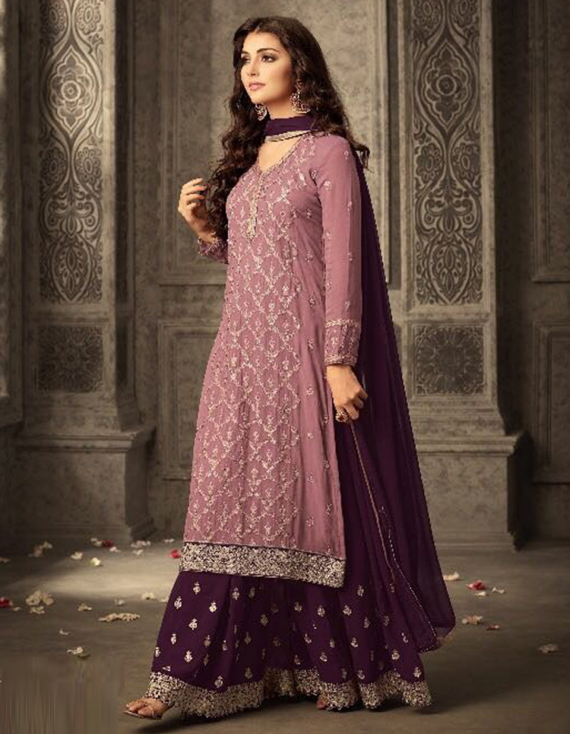 Designer Pink and Wine Georgette Sharara Suit