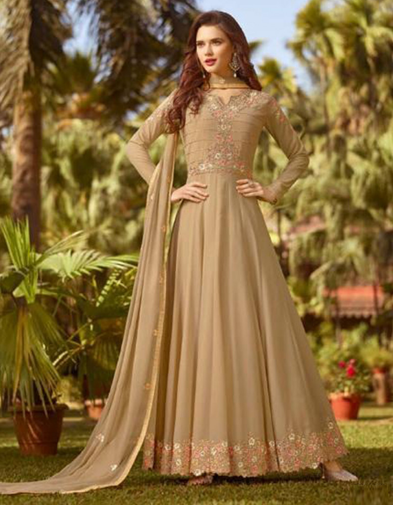 Stylish Beige Georgette Anarkali Suit