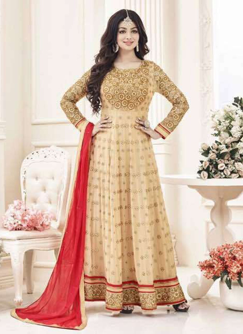Designer Beige Georgette Anarkali Suit with Red Dupatta