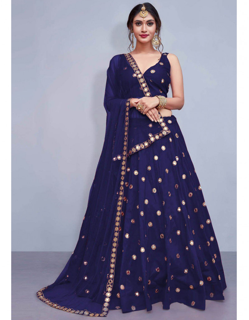 Designer Blue Silk Lehenga Choli for Wedding