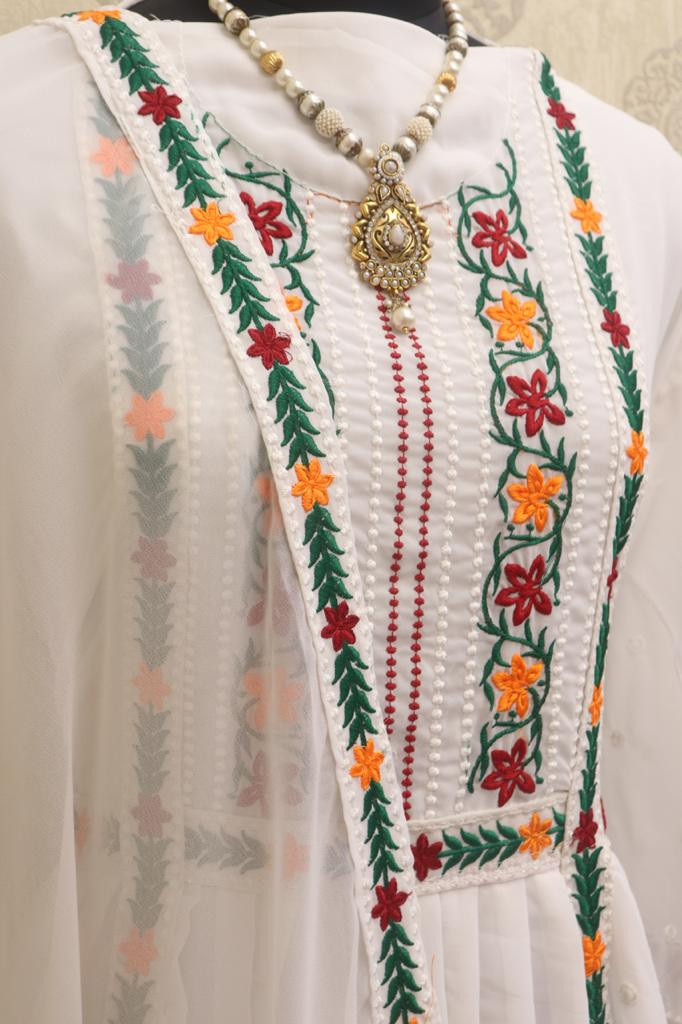 Karishma Kapoor White Embroidered Kurta Set