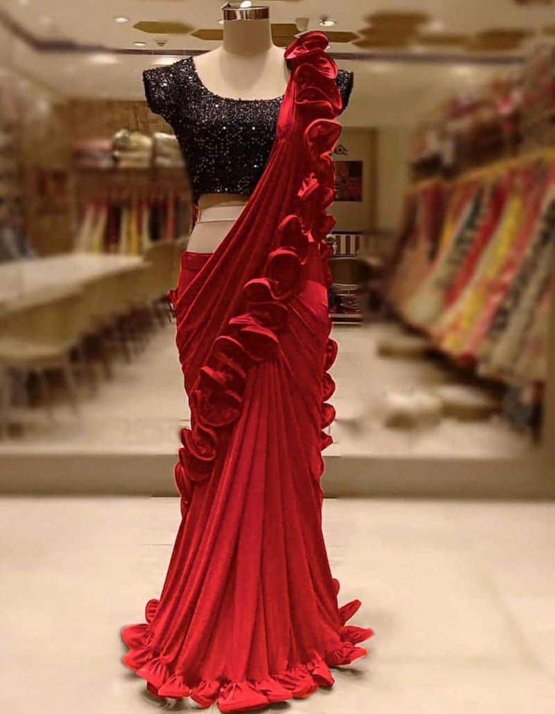 Designer Georgette Red Ruffle Saree with Black Blouse