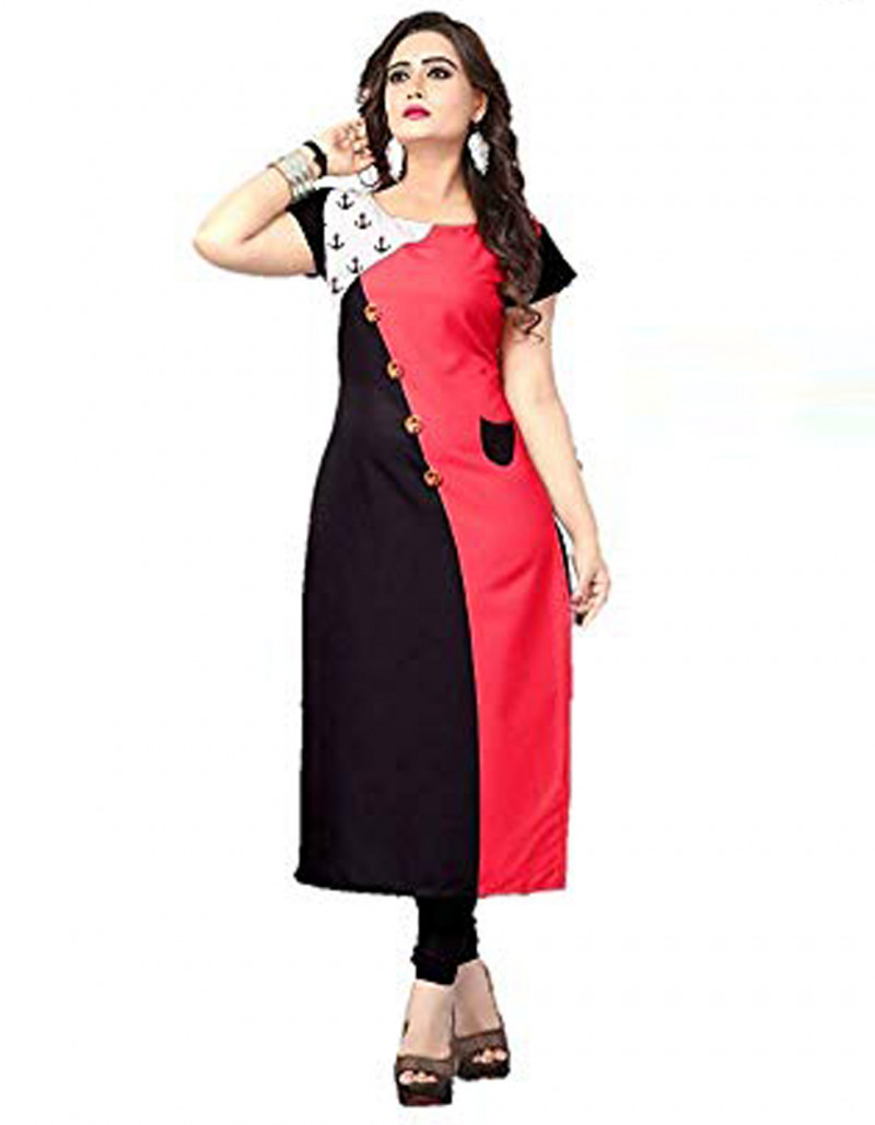 Designer Red Silk Stretch Kurti