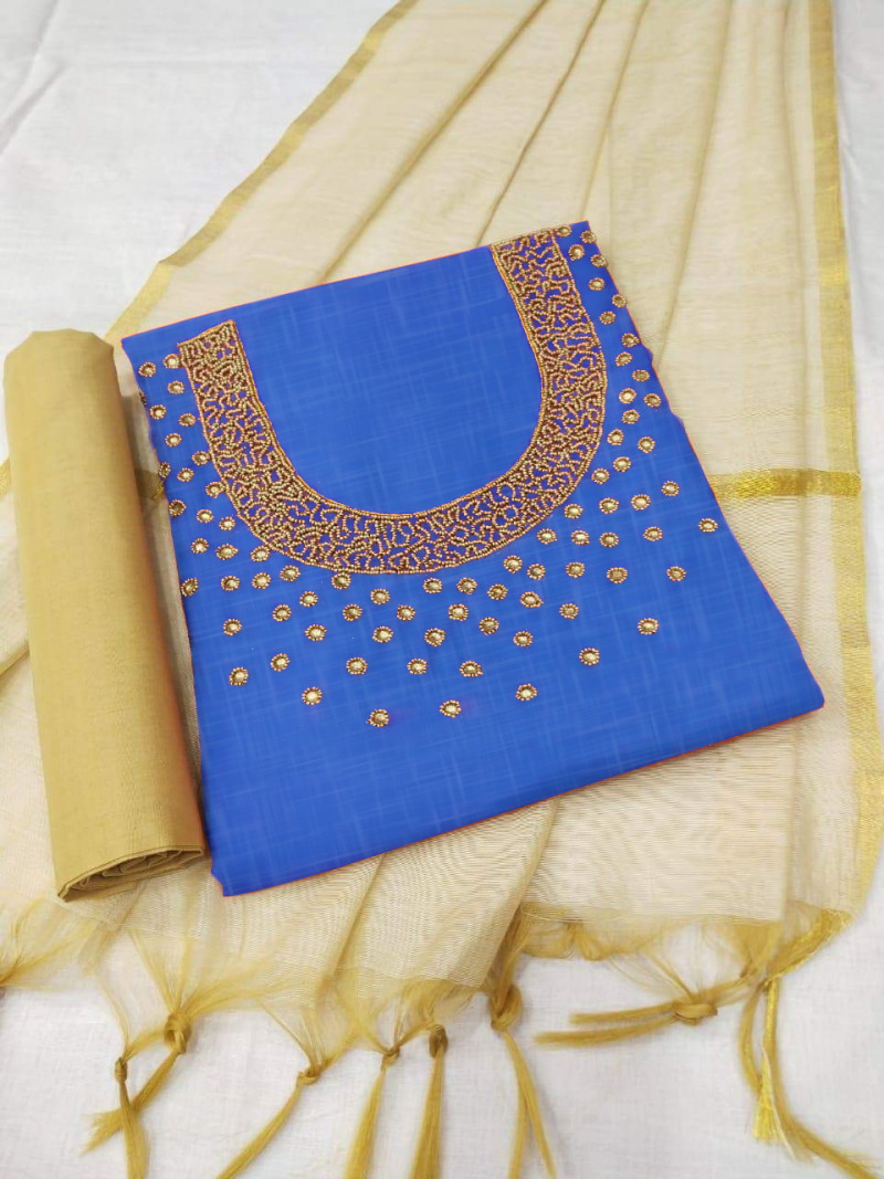 Stylish Blue Georgette Dress Material