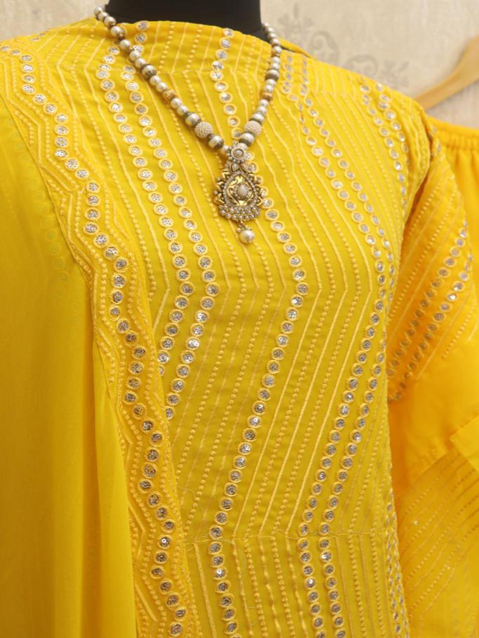 Yankita Kapoor Yellow Embroidered Kurti Plazo Suit
