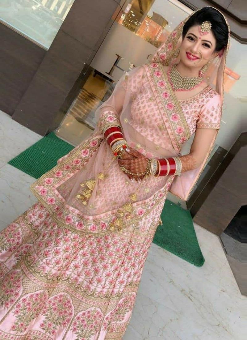 Trending Baby Pink Soft Tafetta Silk Lehenga Choli
