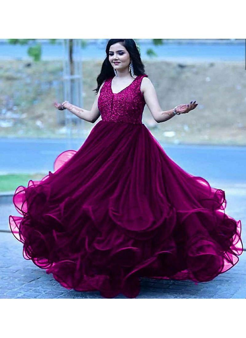 Festival Wear Purple Embroidery Work Anarkali  Gown