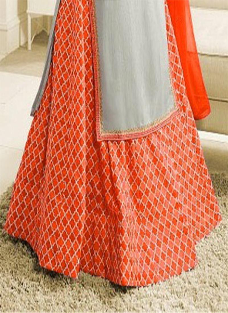 Prachi Desai Designer Grey & Orange Indo-Western Dress