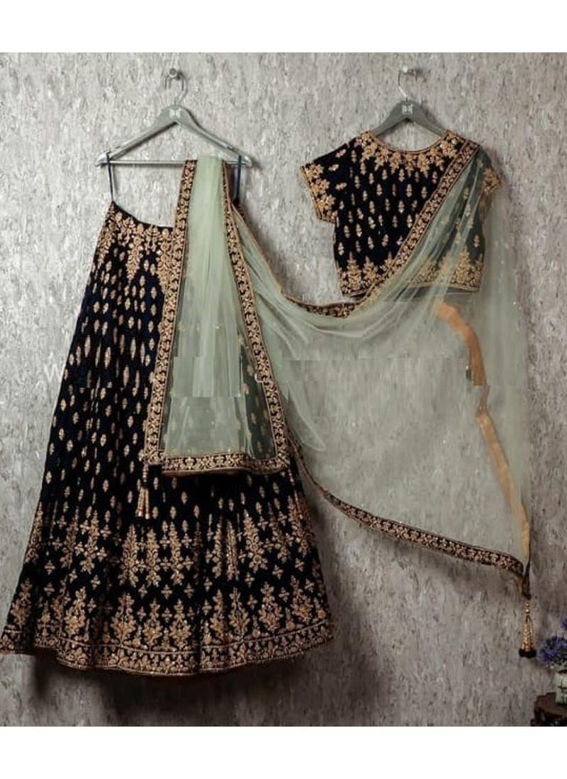 Party wear Black Velvet Embroidered Lehenga Choli